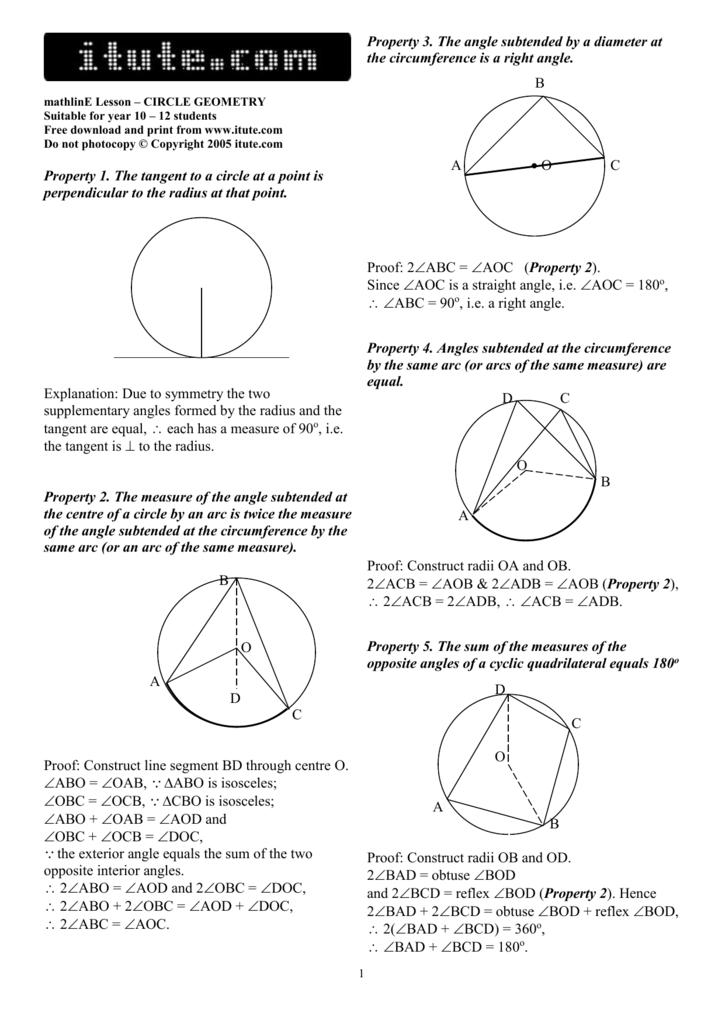 Math Lesson Circle Geometry