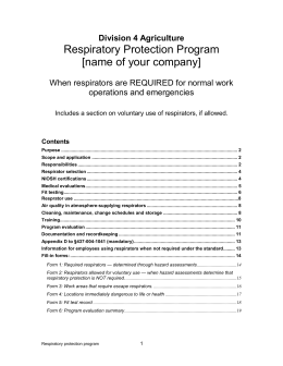 Respiratory protection/required use
