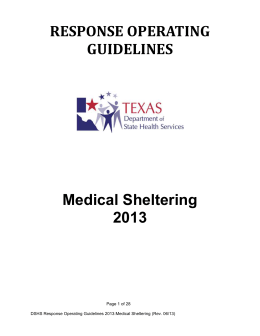 Medical Sheltering 2013 - Texas Department of State Health Services