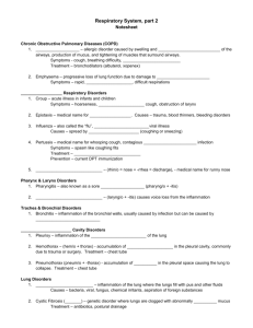 Respiratory System, part 2 Notesheet Chronic Obstructive