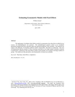 Estimating Econometric Models with Fixed Effects