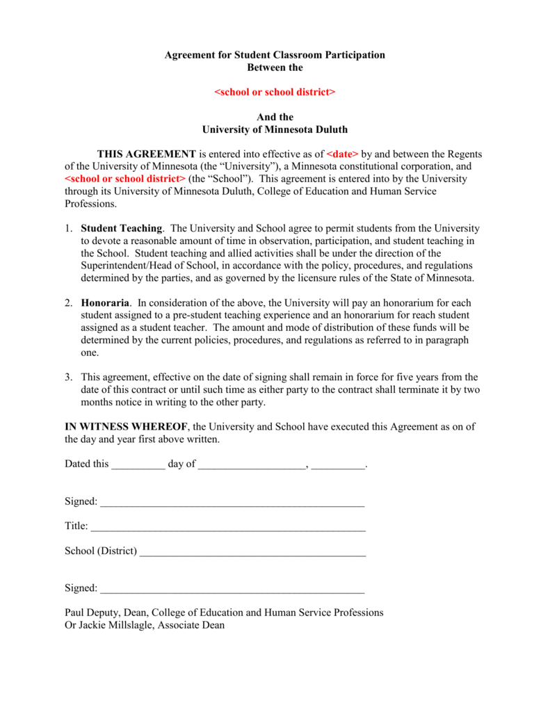 Agreement for Student Classroom Participation – Student Agreement Contract