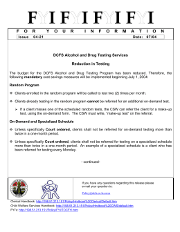 07/04 - DCFS Alchol and Drug Testing Services