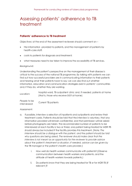 Assessing patients` adherence to TB treatment Patients` adherence