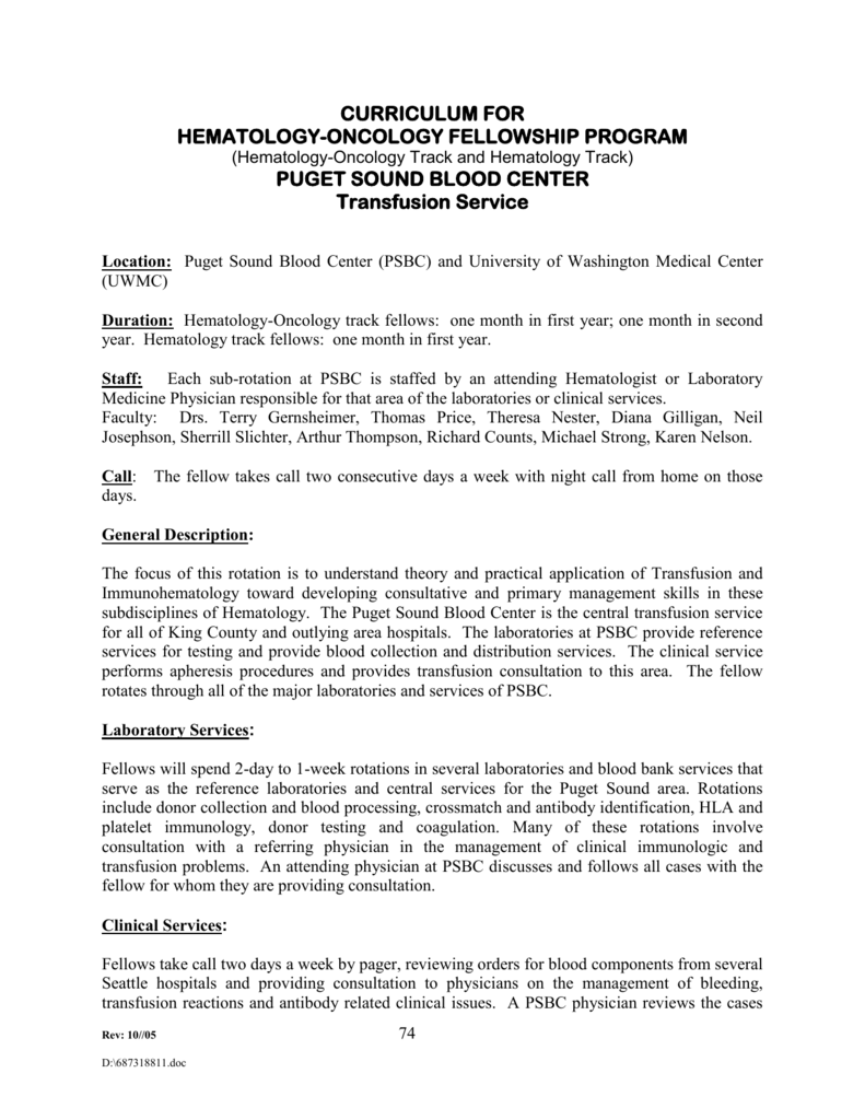 Hematology Oncology Fellowship Curriculum