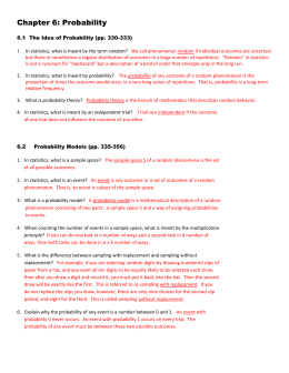 Chapter 6: Probability 6.1 The Idea of Probability (pp. 330