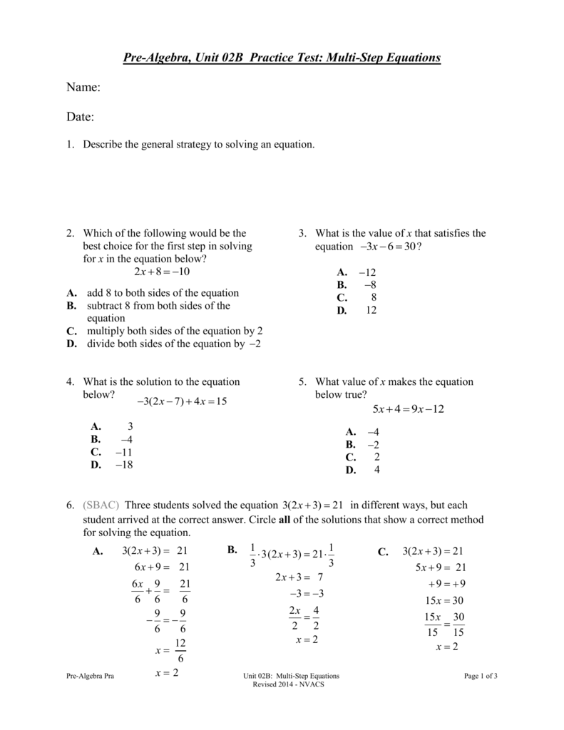 Pre-Algebra, Unit 02B Practice Test: Multi