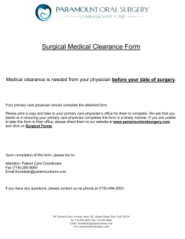 preoperative evaluation template - surgical medical clearance form 2014