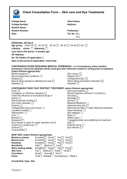 Sample Client Consultation Form - Skincare & Eye Treatments