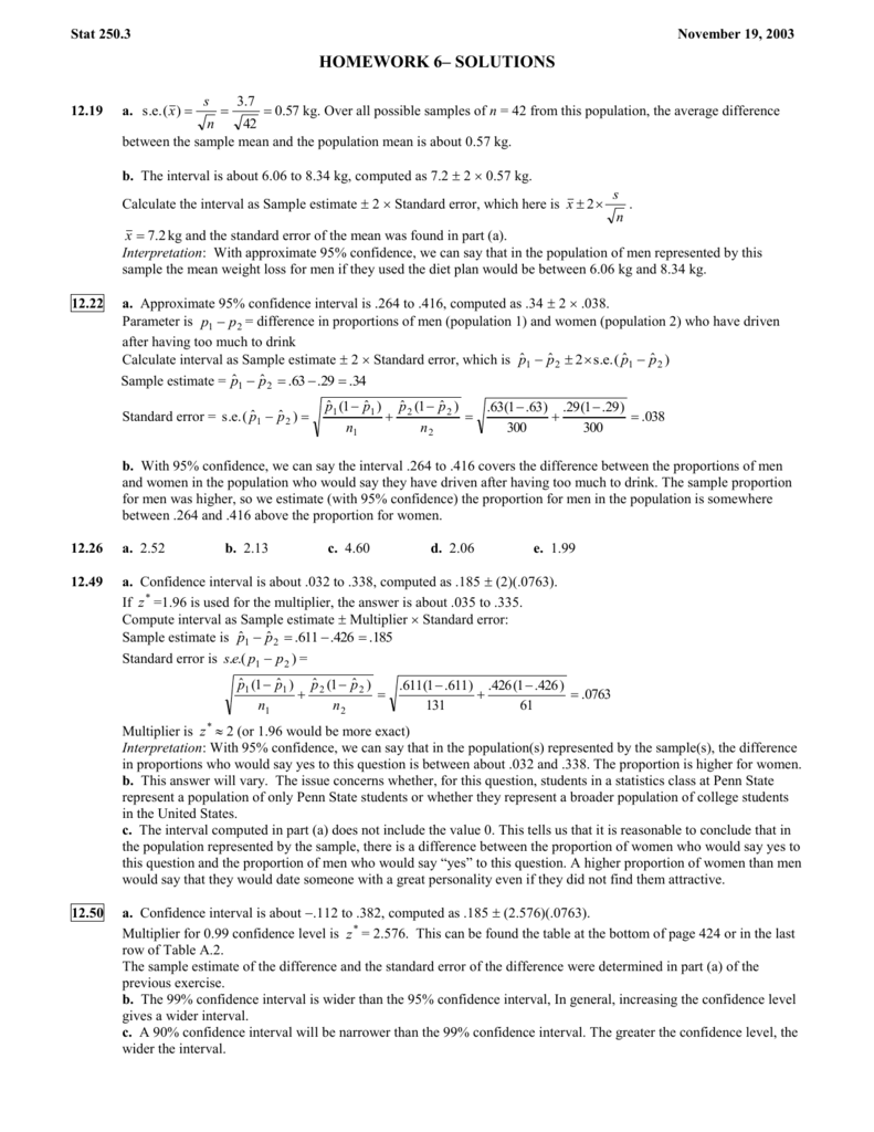 Chapter 2 solutions - Penn State Department of Statistics
