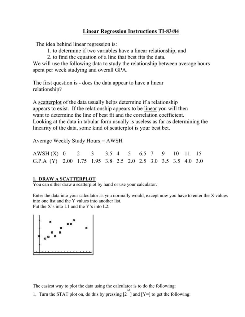 Uncategorized Scatter Plot Correlation Worksheet linear regression instructions ti 83