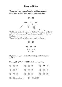 Linear Addition - Primary Resources