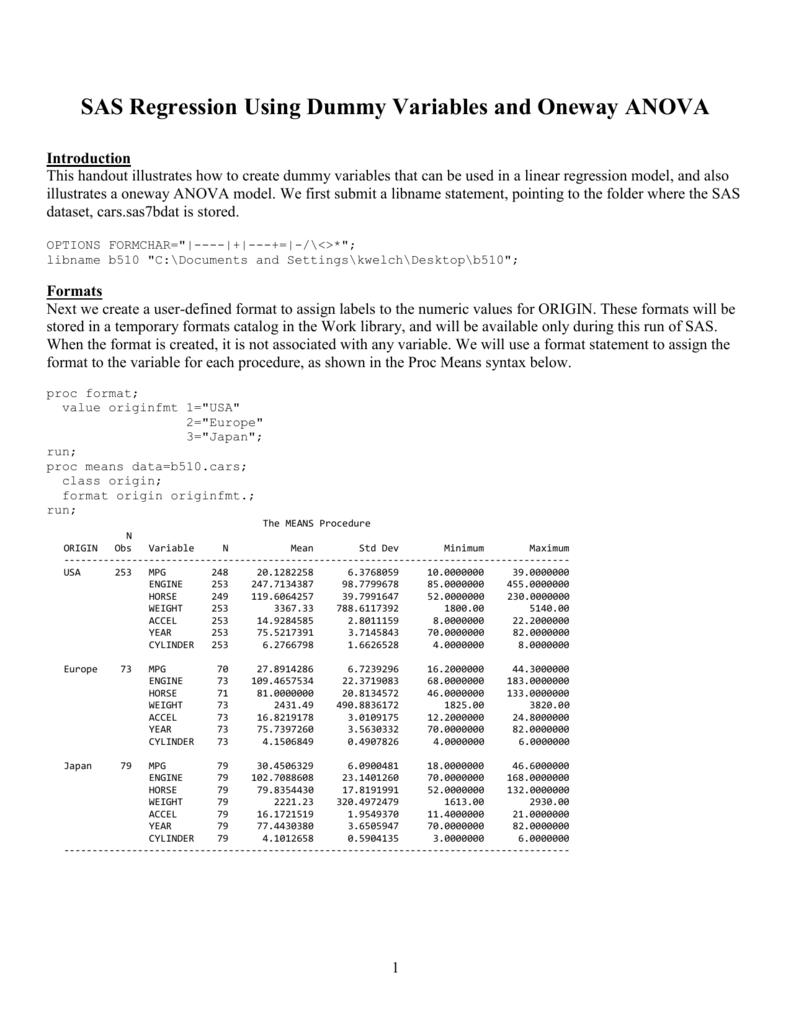 SAS Simple Linear Regression