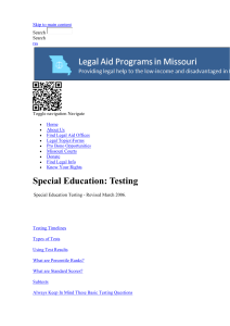 Special Education: Testing - | Missouri Legal Aid Programs