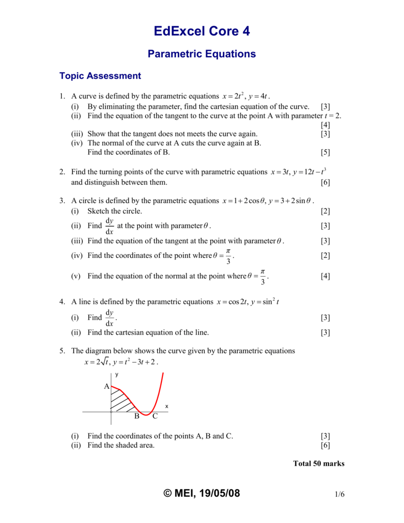 worksheet Parametric Equations Worksheet topic assessment parametric equations