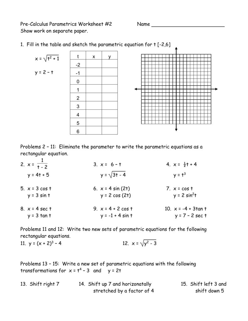 Worksheets Parametric Equations Worksheet pre calculus parametrics worksheet 2