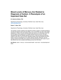 Blood Levels of Mercury Are Related to Diagnosis of