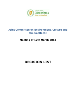 Decision List - JC on ECG - Meeting of 12th March 2013
