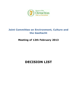 Decision List - JC on ECG - Meeting of 12th February 2013