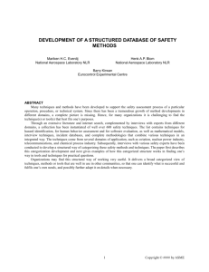 Development of a structured database of safety methods