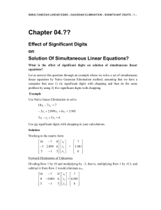 Effect of Significant Digits on Solutiuon of Simultaneous Linear