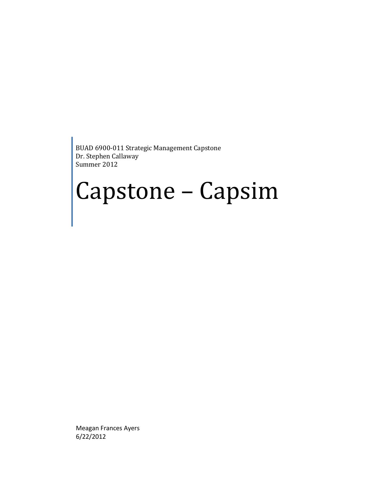 Capstone – Capsim - meaganfrancesmba