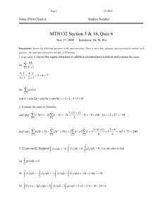 Solutions of Quiz 6