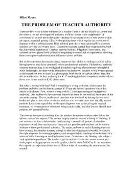 The Problem of Teacher Authority