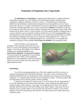 Estimation of Population Size Using Snails