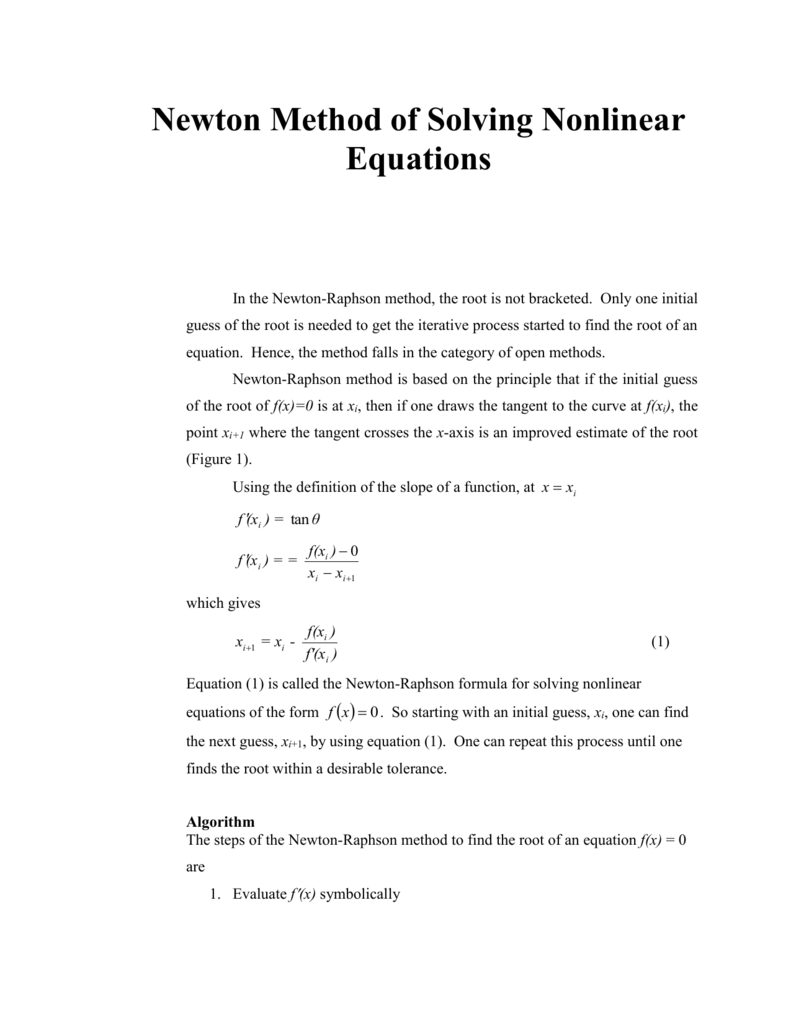 Newton Raphson Method Text Book Notes: Nonlinear Equations