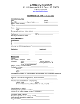 PEDIATRIC INTAKE FORM - Alberta Health Institute