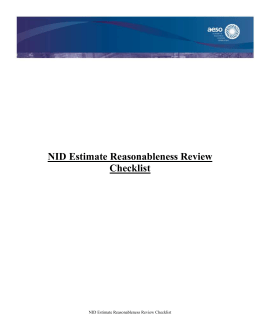 NID Estimate Reasonableness Review Checklist