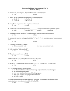 Exercises for Linear Programming (Cht