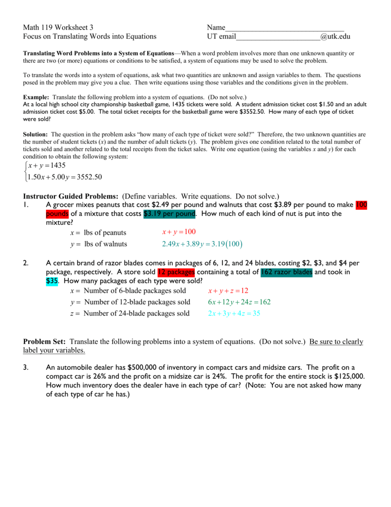 Translating Algebraic Phrases (A)
