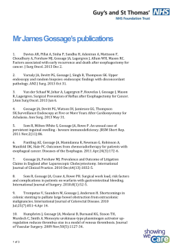 James Gossage`s publications