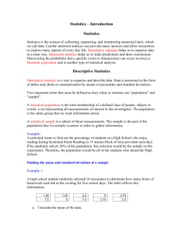 Statistics – Introduction