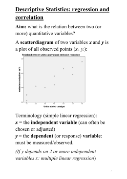 L2: Lecture notes Regression and Correlation