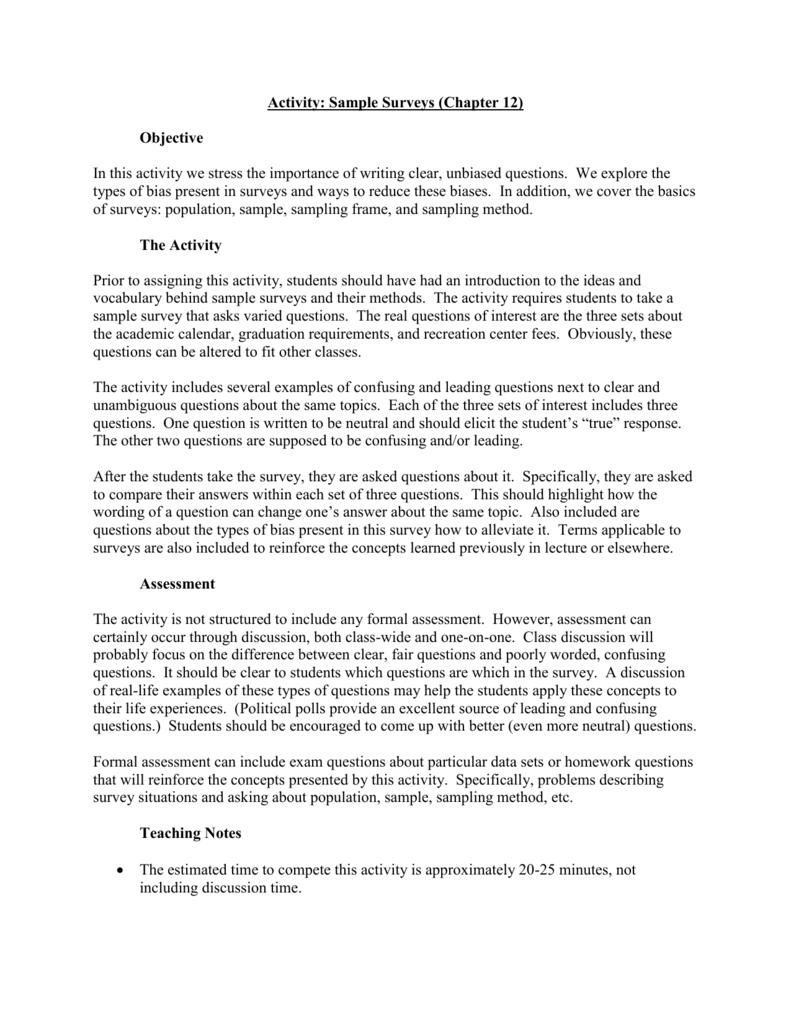 activity sample surveys chapter 12