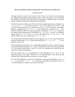 Review of Random Number Generated by Linear Recurrence