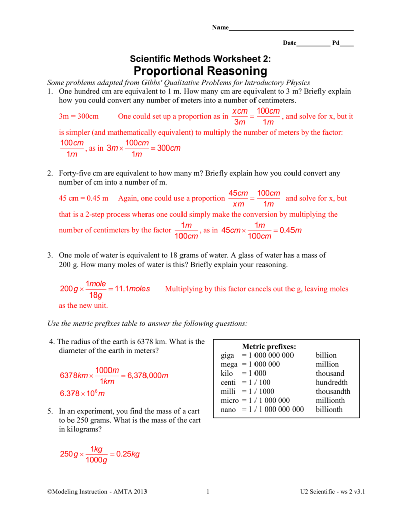 Scientific Methods Worksheet 2