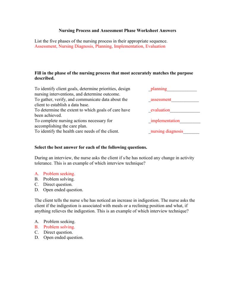 nursing process worksheet