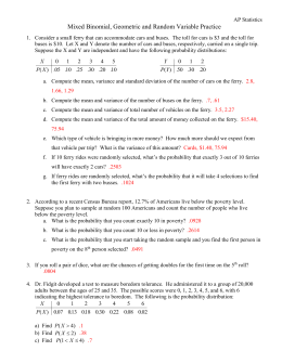 Mixed Binomial, Geometric and Random Variable Practice