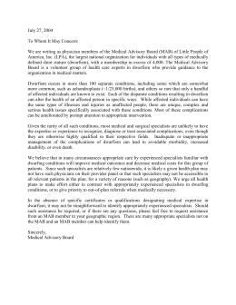 Medical Needs Letter for LPA Members