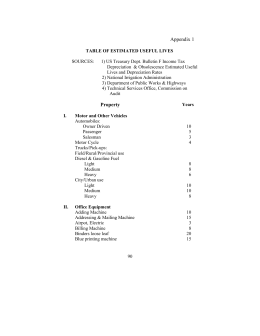 Appendix 1 - Table of Estimated Useful Lives