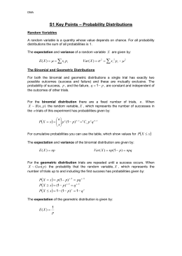 S1 Key Points – Probability Distributions