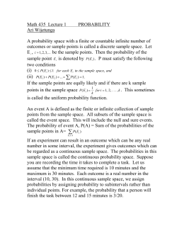 Math 421 Lecture 1 PROBABILITY