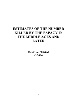 Estimates of the Number Killed by the Papacy in the Middle Ages