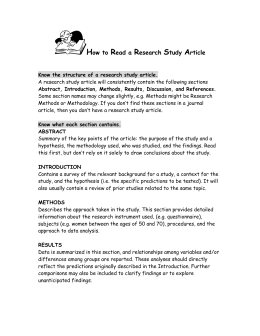 How to Read a Research Study Article