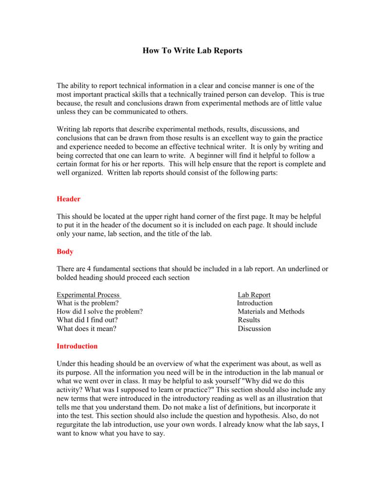 College lab report