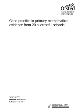 Good practice in primary mathematics